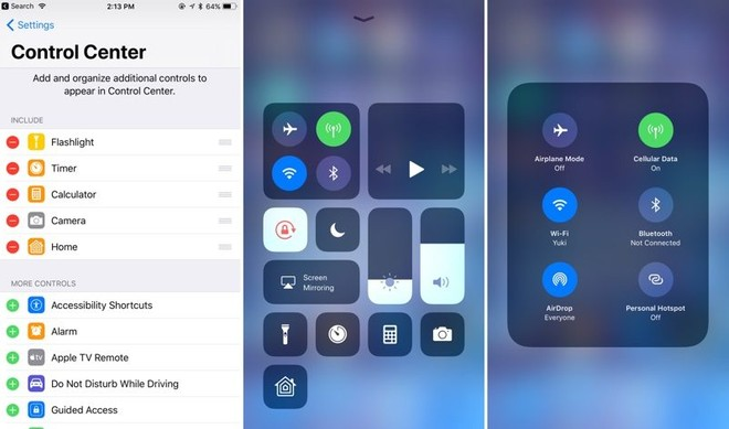 control settings on iphone