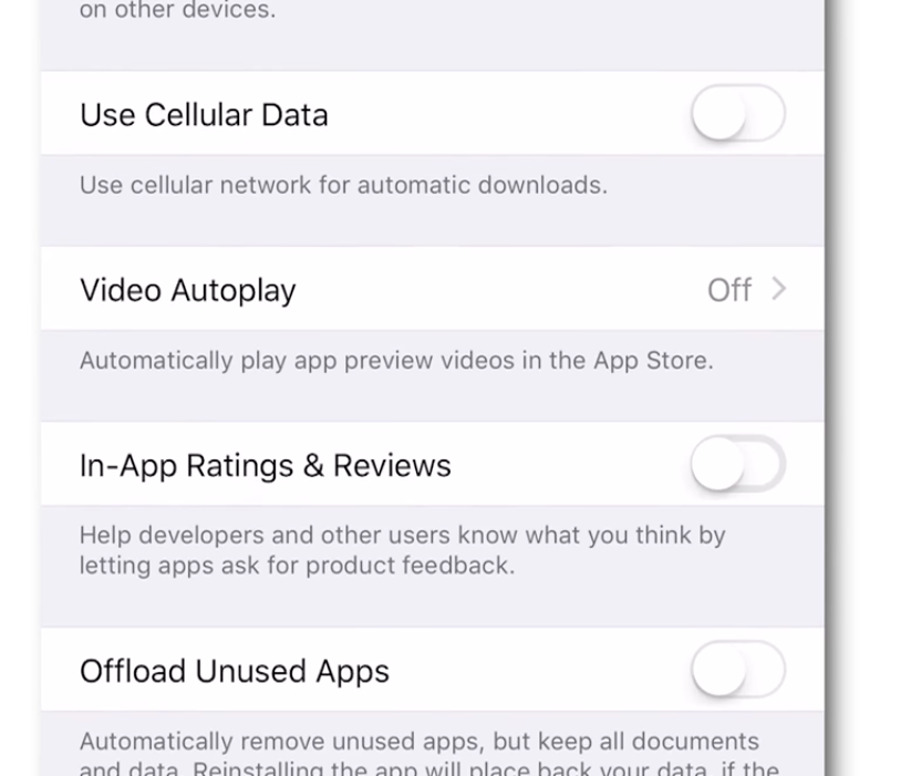 disable in app reviews security settings
