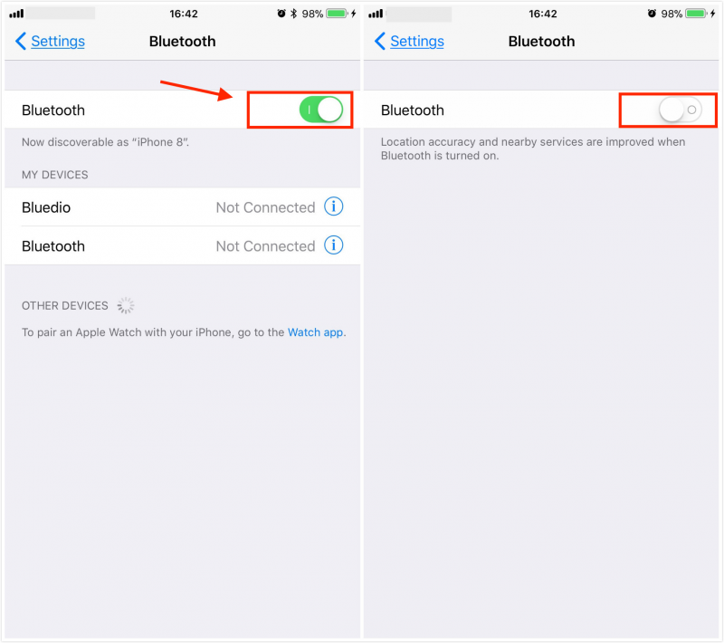 iPhone Turn Bluetooth Off to solve audio problems
